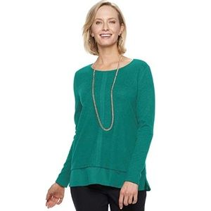 ⬇️ Dana Buchman Teal Jewel-tone Twofer Top